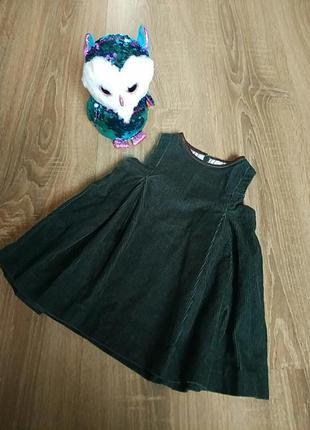 Вельветовое нарядное платье на девочку 6-9 мес. изумрудного цвета