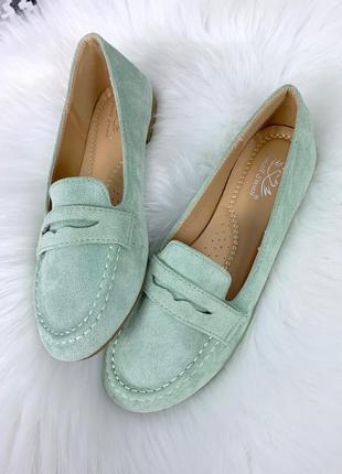 Мятные замшевые туфли на низком каблуке, замшевые лоферы в чет...