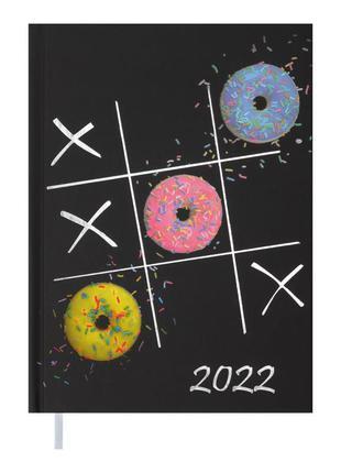 Ежедневник датированный 2022 А5 Buromax SWEET черный картон тв...
