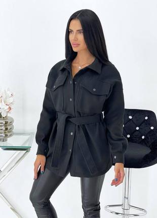 Тёплое кашемировое пальто рубашка воротник-стойка с карманами ...