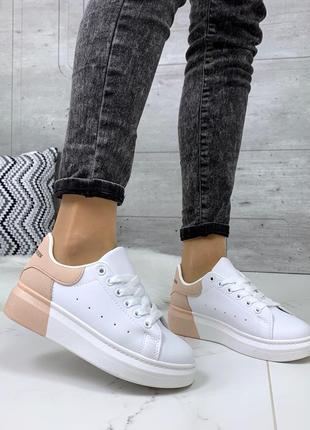 ❤ женские черные белые / пудровые кроссовки ❤