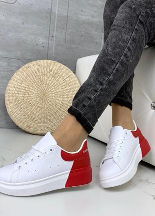 ❤ женские белые / красные кроссовки ❤