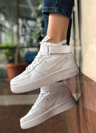 Шикарные женские кожаные кроссовки nike air force 1 white 😍 (в...