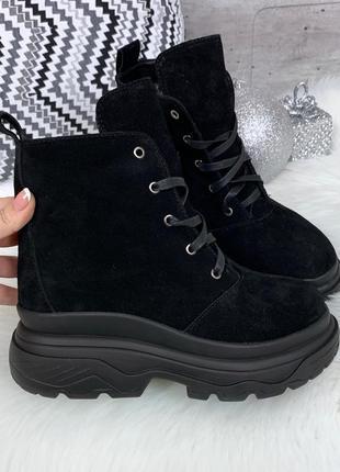 ❤ женские черные зимние замшевые ботинки полусапожки ботильоны...