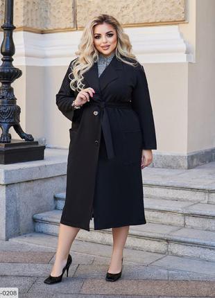 Чёрное замшевое пальто