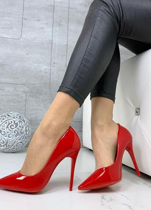 ❤ женские красные туфли лодочки   эколак ❤