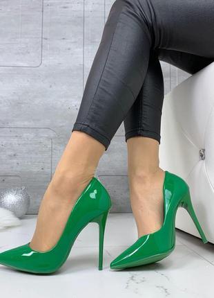 ❤ женские зеленые туфли лодочки эколак ❤