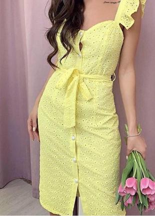 Актуальное платье сарафан с рюшами