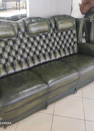 Комплект диван + кресло Честерфилд