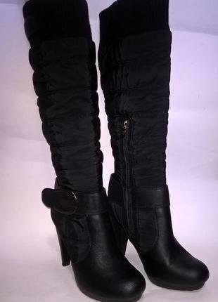 Чёрные демисезонные сапоги на каблуке xti