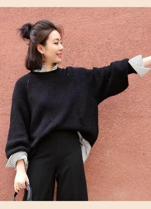 Объёмный хлопковый свитер h&m