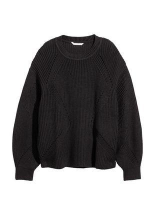 Объёмный хлопковый свитер черного цвета h&m черный свитер овер...