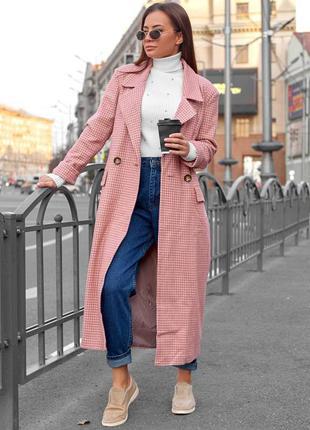 Пальто женское в клетку, цвет - пудра, трендовое модное, осенн...