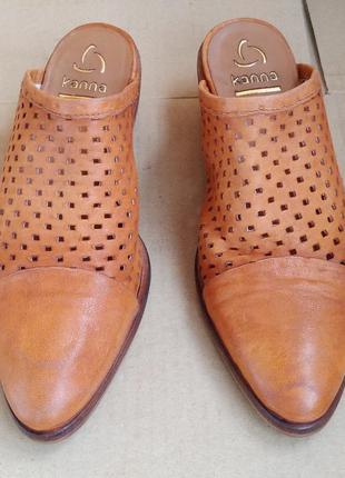 Новые стильные полностью кожаные мюли сабо летние туфли испанс...