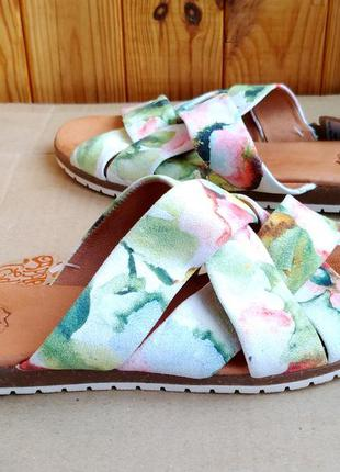 Новые модные полностью кожаные босоножки шлёпанцы apple of eden