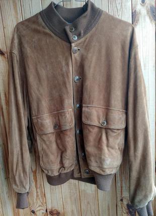 Кожаная куртка замшевый бомбер burberyss (испания)