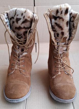 Кожаные новые утеплённые ботинки сапожки no brand португалия