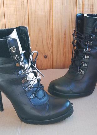 Кожаные ботильоны стильные туфли ботиночки на каблуке туфли mi...