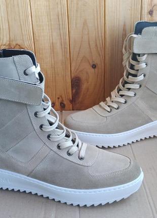 Стильные итальянские кожаные утеплённые ботинки mmml полусапожки