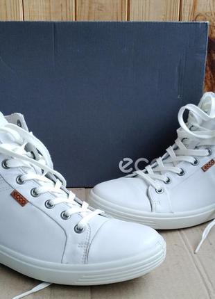 Супер стильные кожаные высокие кеды ecco ботиночки оригинал в ...