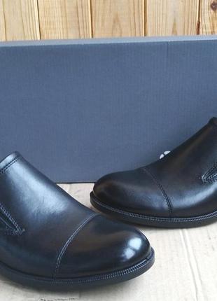 Стильные новые кожаные удобные слипоны ecco туфли мокасины ори...