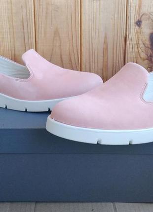 Стильные кожаные новые мокасины слипоны ecco туфли оригинал в ...