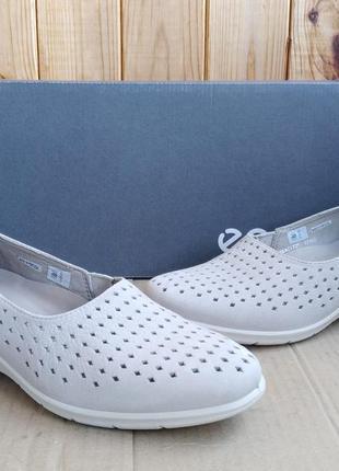 Стильные полностью кожаные новые мокасины балетки ecco туфли с...