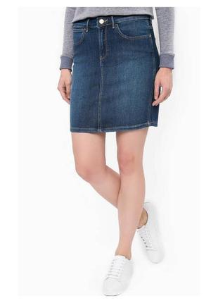 Синяя плотная джинсовая юбка-карандаш с потертостями peacocks....