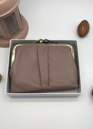 Кожаный, розовый женский кошелек novoteil