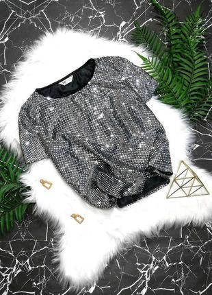 Серебристая блуза топ в паетки bonmarche (франция)