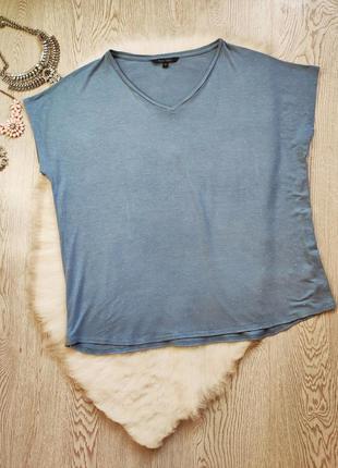 Голубая натуральная блуза футболка оверсайз с блестящими страз...