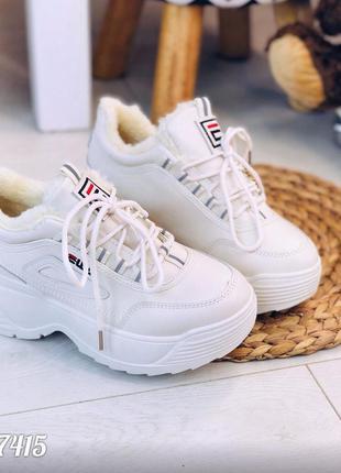 Зимние белые кроссовки на массивной подошве,зимние кроссовки н...