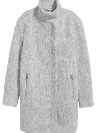 Шерстяное базовое пальто боифренд оверсайз прямого кроя