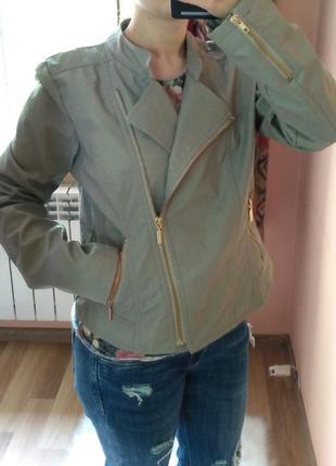 Кожаная куртка серая косуха кожанка atmosphere с бронзовой фур...