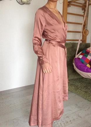 Атласное платье h&m