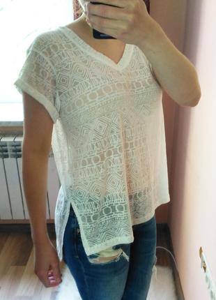 Легкая полу-прозрачная футболка с ацтекским узором atmosphere....