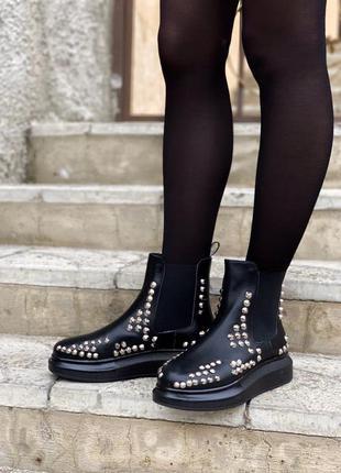 👢 женские ботинки alexander mcqueen chelsea boots 👢(арт. mq0001)