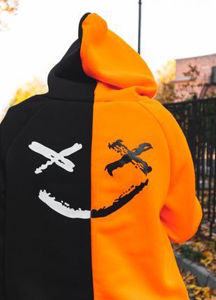 Тёплый Двуцветный худи Be Happy черно-оранжевый