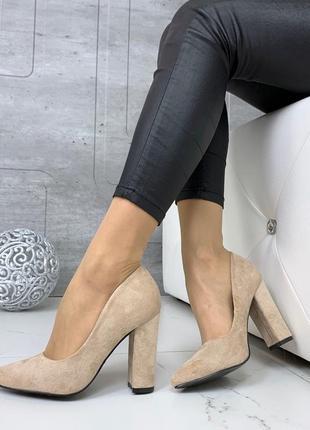 ❤ женские бежевые туфли экозамша ❤
