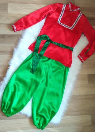 Костюм красно-зеленый на мальчиков 7-8 лет: штаны, пояс, рубашка