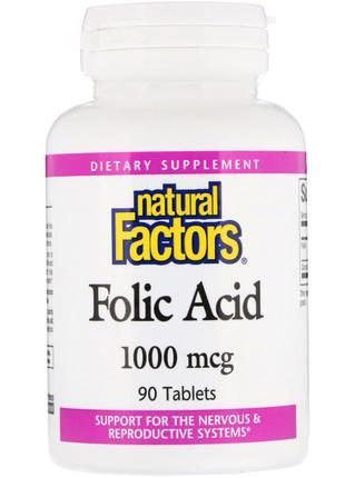 Natural Factors, Фолиевая кислота, 1000 мкг, 90 шт., официальн...