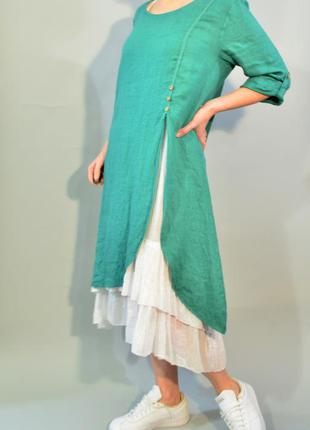 4127\100 двойное платье зеленого цвета noname onesize
