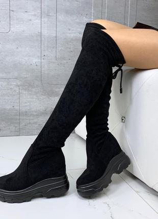 ❤ женские черные весенние деми высокие сапоги ботфорты чулки б...