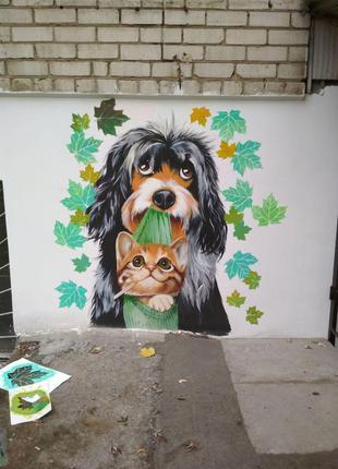 Роспись, рисунки, графика, иллюстрации и граффити на стенах