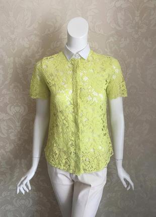 Valentino оригинал италия зеленая рубашка блуза из кружева