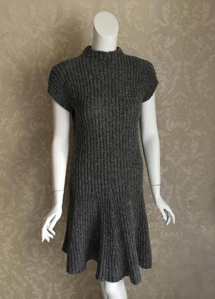 Benetton италия теплое шерстяное серое платье размер м {s-m}