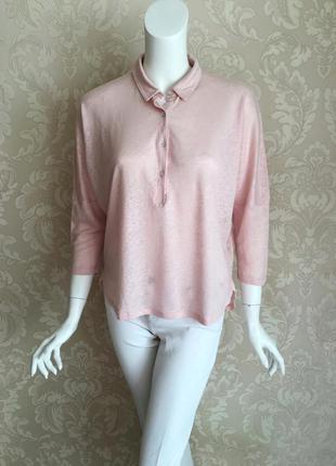 Monoprix paris розовая льняная трикотажная блуза рубашка