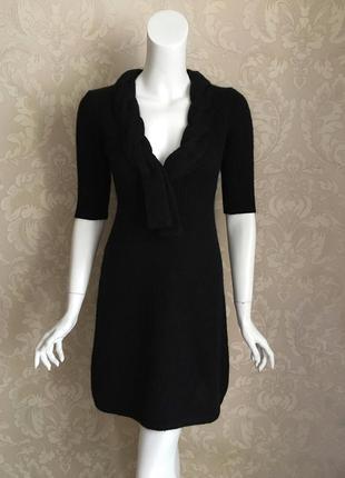 Теплое черное шерстяное нарядное платье мохер италия