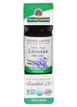 Nature's Answer, Органическое эфирное масло, 100% лаванда, 15 ...