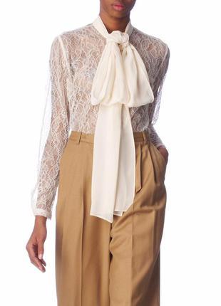 Malene birger дизайнерская нарядная шелковая кружевная блуза р...